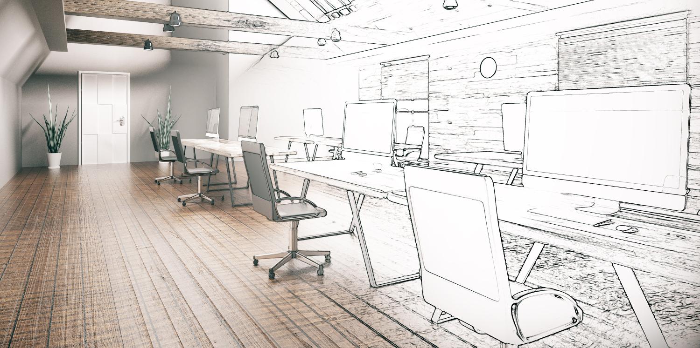Skizze Planung Büroaufteilung